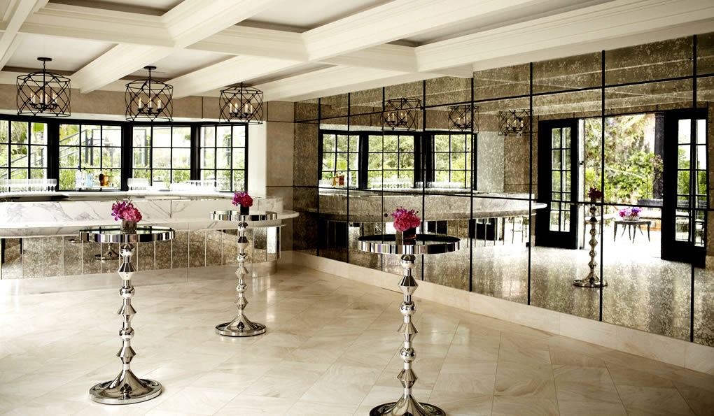 Recent Project ~ Hotel Bel-Air Los Angeles: Bar Height Chrome Tables